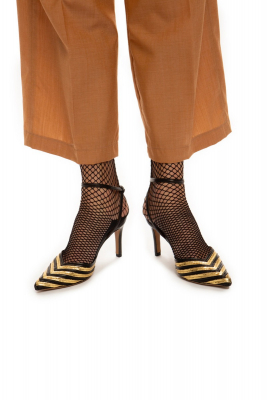 Gold-stribed heels